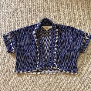 Anthropologie HWR Monogram bolero sweater